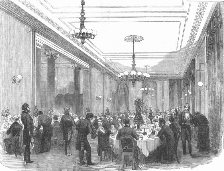Associate Product DOVER. The Dining-Room at the Lord Warden. Kent, antique print, 1853