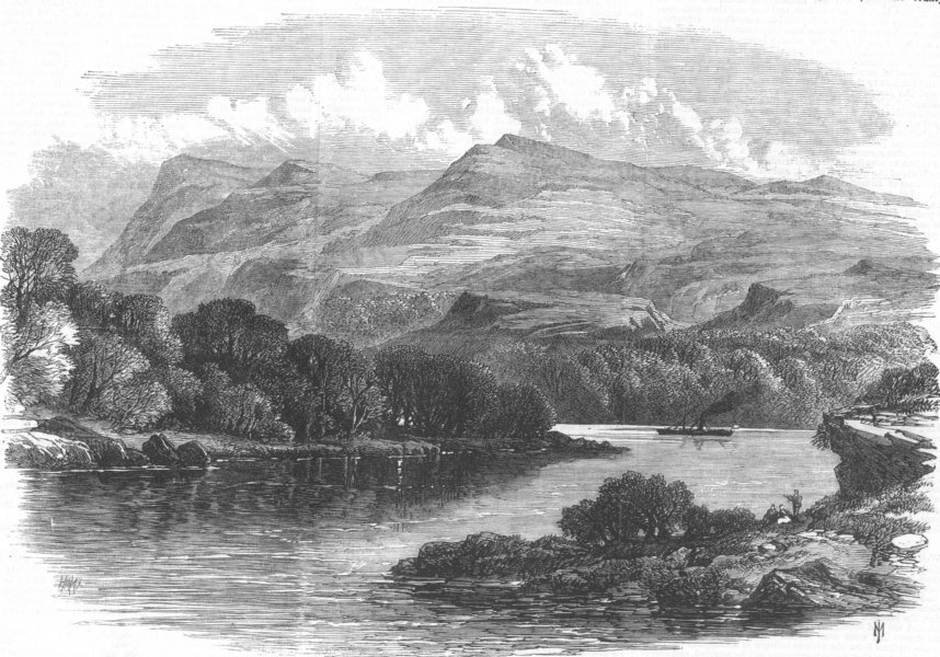 Associate Product IRELAND. The windings of Lough Erne, antique print, 1869