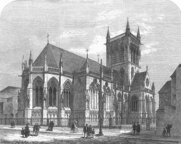 Associate Product CAMBRIDGE. The new chapel of St John's College. Cambridgeshire, old print, 1869