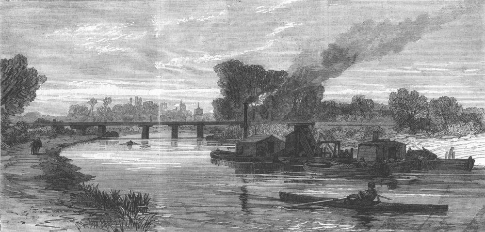 Associate Product CAMBRIDGESHIRE. The Cam River Improvements. Dredging near Cambridge, print, 1869