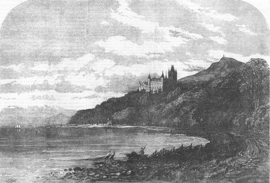 Associate Product SCOTLAND. Dunrobin Castle, from the East, antique print, 1855