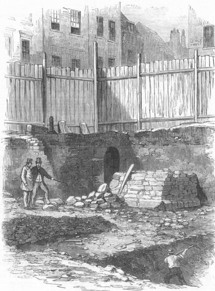 Associate Product ALDGATE. Remains of London Wall, just discovered in Jewry-Street. London, 1865