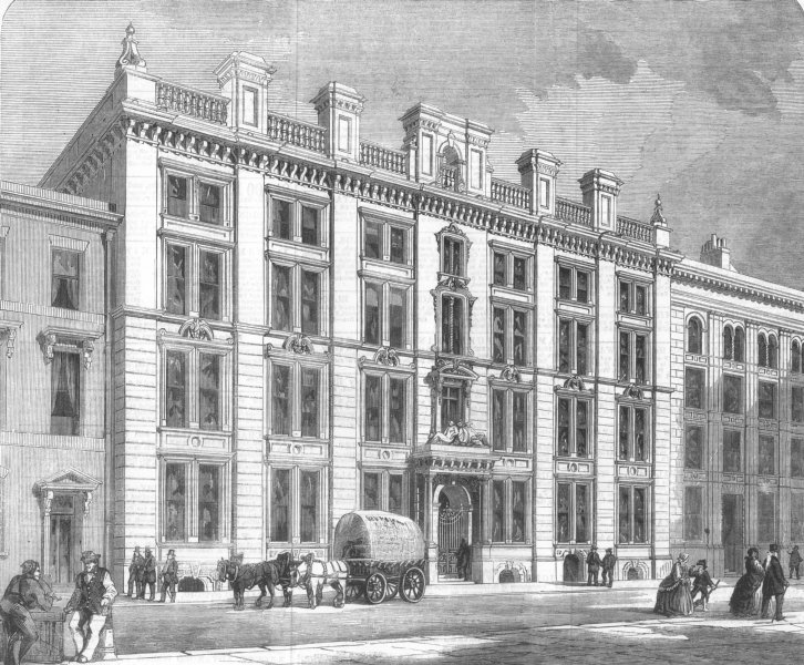 Associate Product LONDON. Offices and sale rooms in Mincing-Lane, City, antique print, 1860