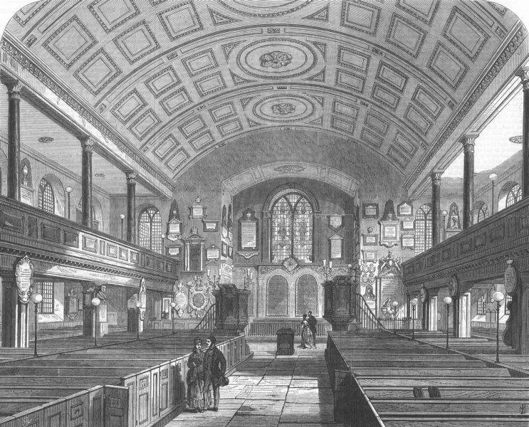 Associate Product LONDON. Kensington Old Church, antique print, 1869