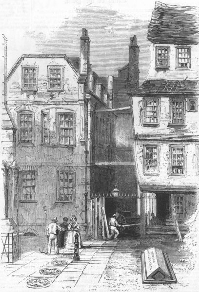 Associate Product LONDON. Ancient Houses in the Temple, and the grave of Oliver Goldsmith, 1860