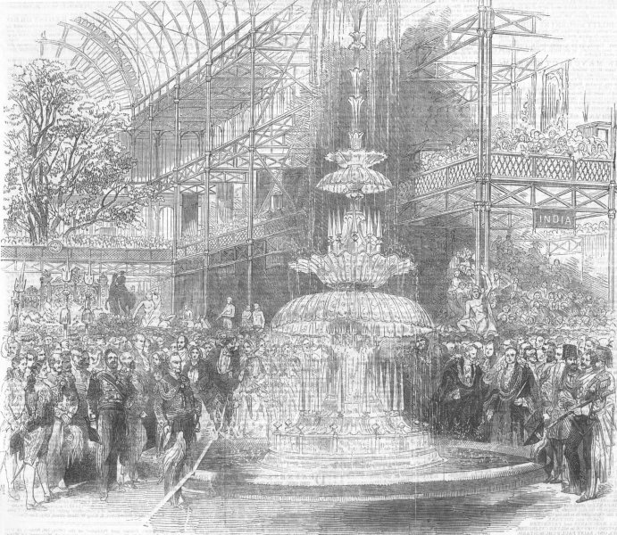 Associate Product LONDON. The Transept of the Crystal Palace on the 1st of May, old print, 1851