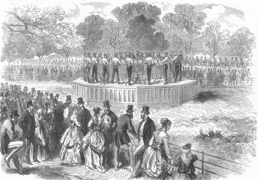 Associate Product HYDE PARK. Band of the Life Guards playing on the new platform, old print, 1869