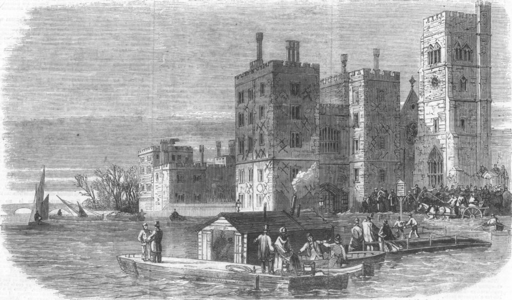 Associate Product LONDON. The high tide at Lambeth, antique print, 1868