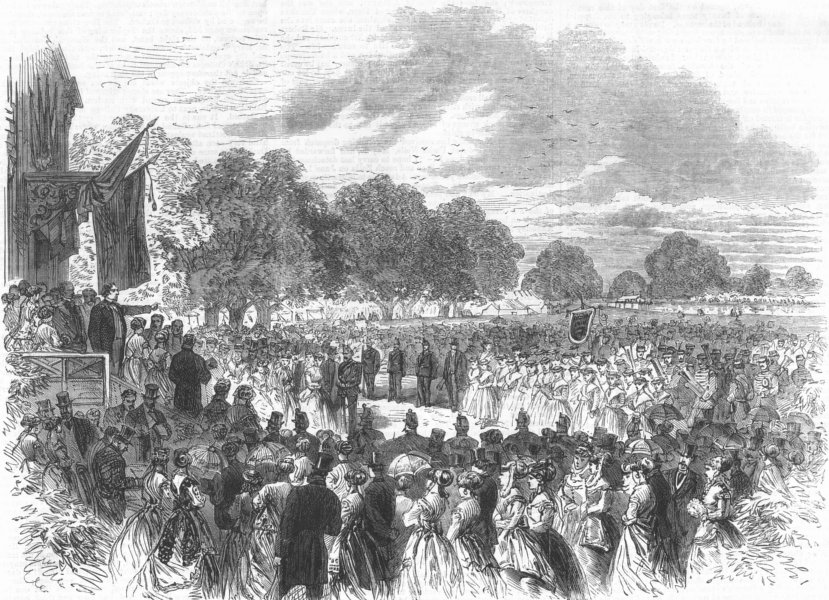 Associate Product HALTON. Mr. Disraeli opening the Industrial Exhibition. Buckinghamshire, 1868