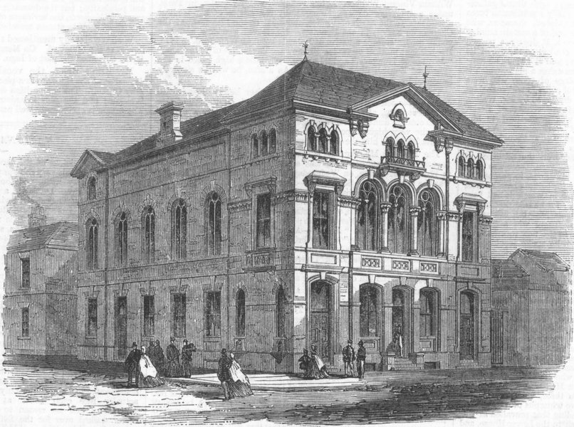 Associate Product BIRKENHEAD. The Workmen's Hall. Cheshire, antique print, 1865