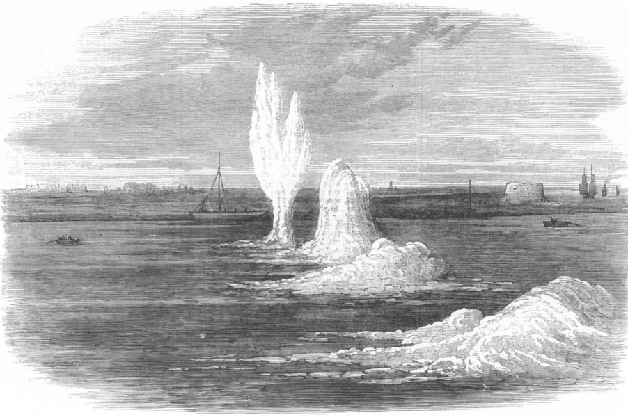 Associate Product CHATHAM. Siege operations. Explosion of mines under the Medway. Kent, 1871