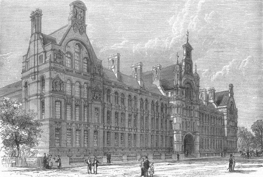 Associate Product KENSINGTON. City and Guilds Proposed Central Institution, antique print, 1881