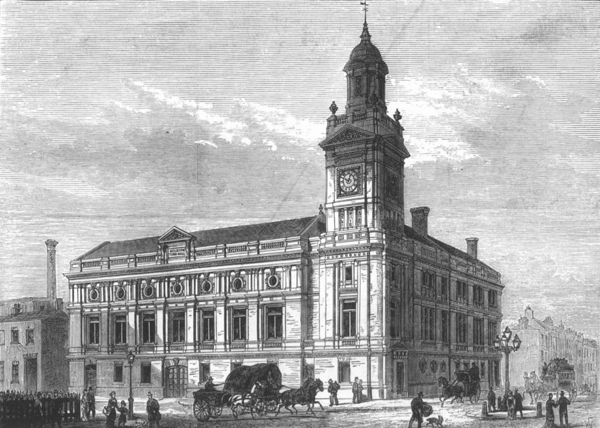 Associate Product LONDON. The Holborn Town hall, antique print, 1880