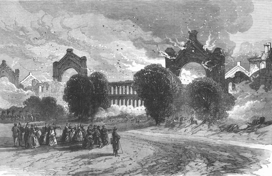Associate Product LONDON. The burning of the Alexandra Palace-sketched from the North, print, 1873