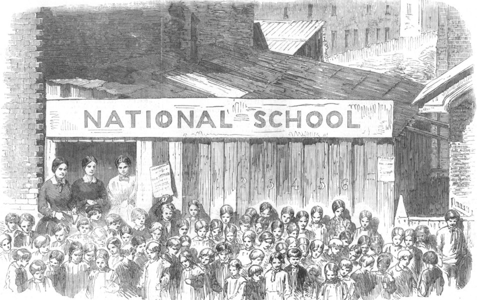 Associate Product LONDON. Plaistow New Town, or Hall's Ville National School-Shed, old print, 1857