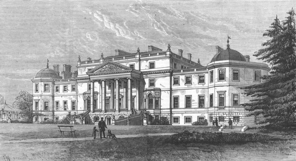 Associate Product BARNET. Wrotham Park, seat of the Earl Of Strafford. Destroyed by fire, 1883