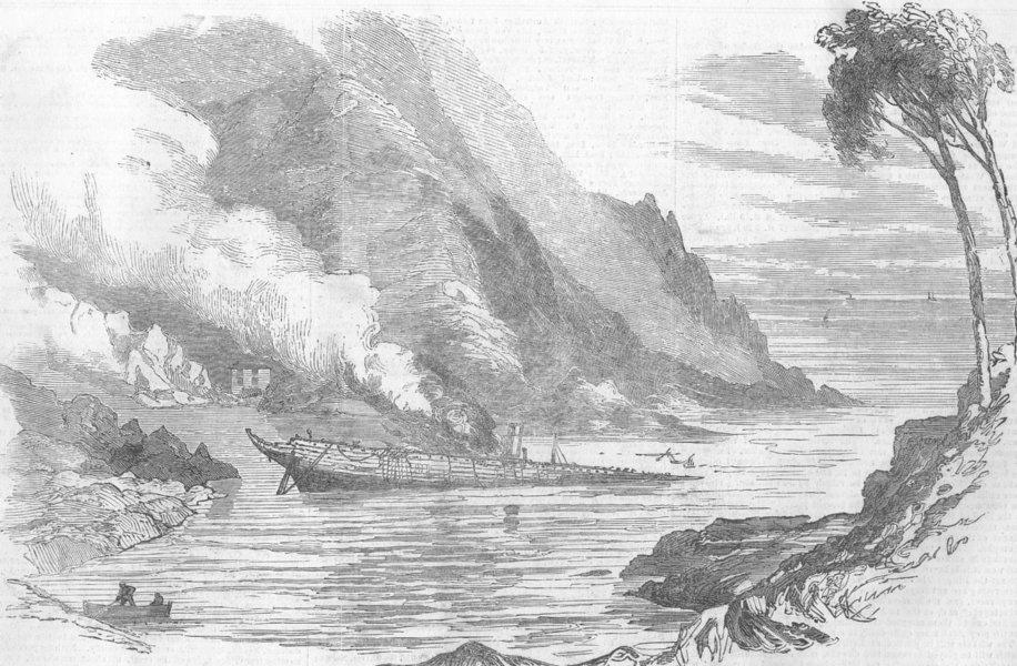 Associate Product ITALY. Shipwreck in Fruttuoso Bay, antique print, 1885