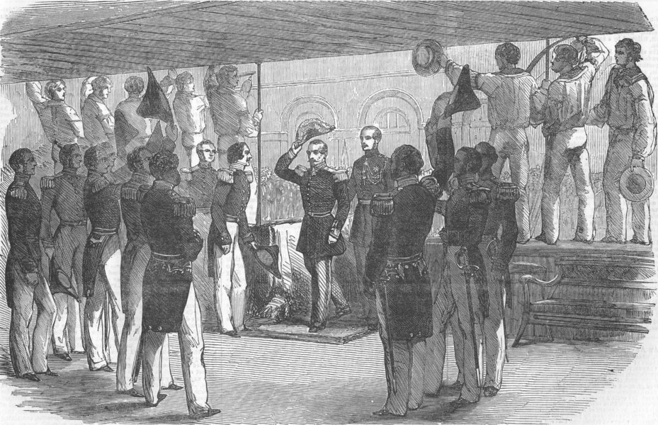 Associate Product FRANCE. Emperor visiting Royal Yacht, at Boulogne, antique print, 1854