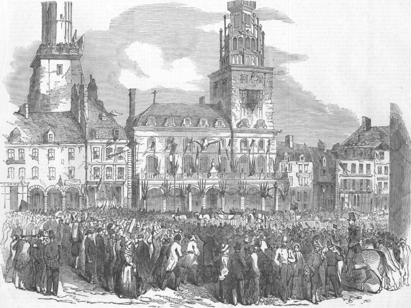 Associate Product FRANCE. Reception of Emperor of French, at Calais, antique print, 1853