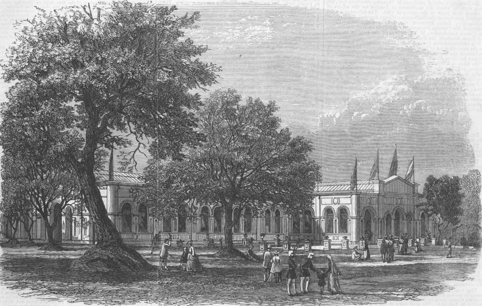 Associate Product INDIA. Exhibition Building at Agra, antique print, 1867
