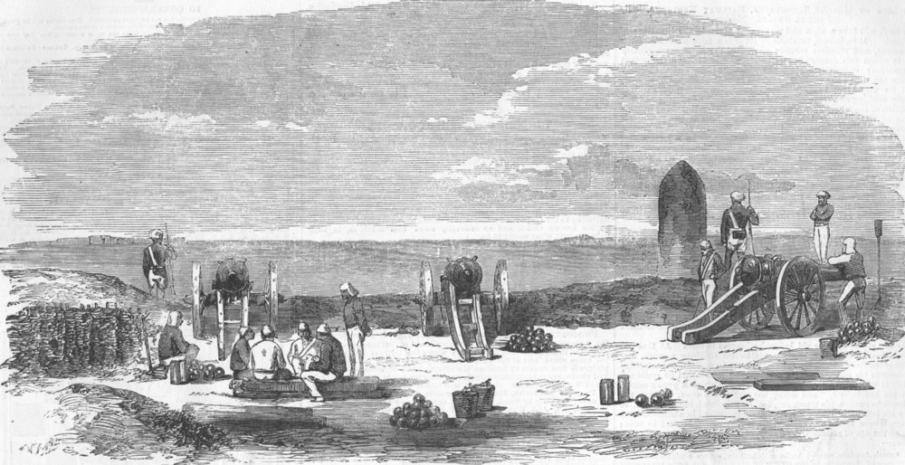 Associate Product INDIA. The Mound Battery, before Delhi, antique print, 1857