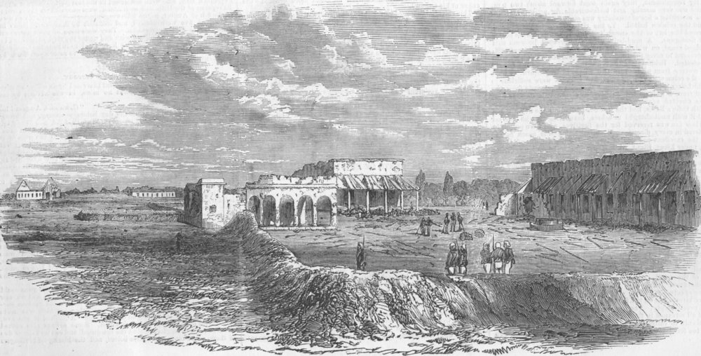 Associate Product INDIA. The Intrenchments at Kanpur, antique print, 1857