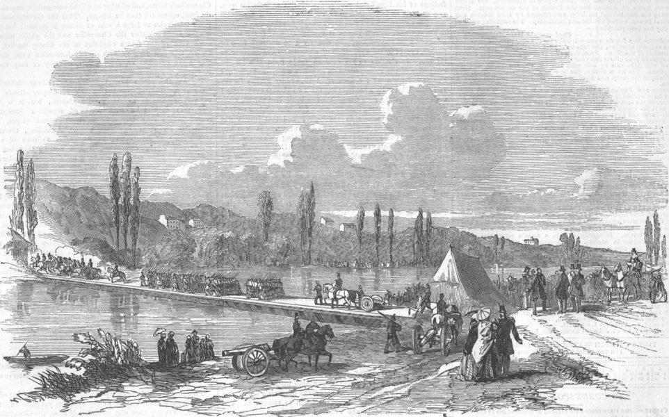 Associate Product FRANCE. Bridging Experiment at Joinville-Le-Point, antique print, 1854
