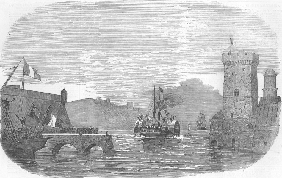 Associate Product FRANCE. Lord Raglan leaving Marseilles, Caradoc, antique print, 1854