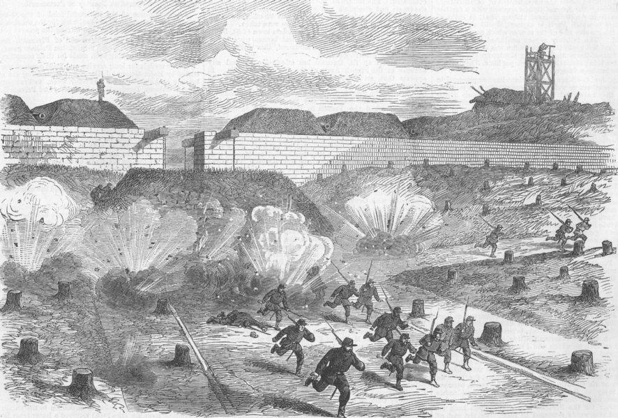 Associate Product FRANCE. Prussians shelling Porte D'Auteuil, Paris, antique print, 1871