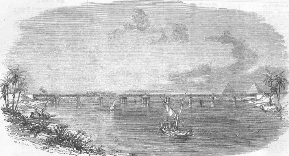 Associate Product EGYPT. Railway bridge Across The Nile at Benha, antique print, 1856