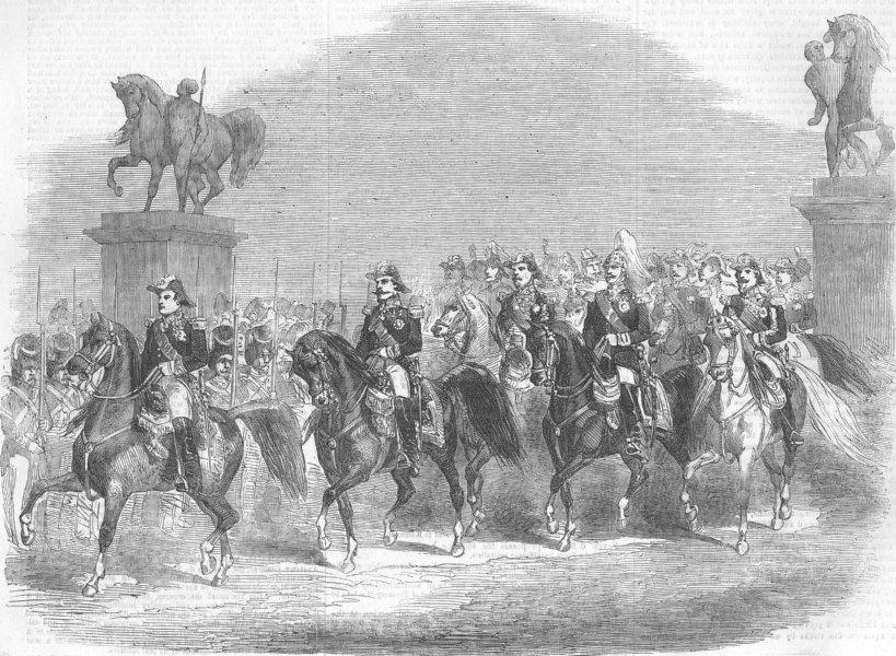 FRANCE. Emperor & Count Orloff; Review, Champ De Mars, antique print, 1856