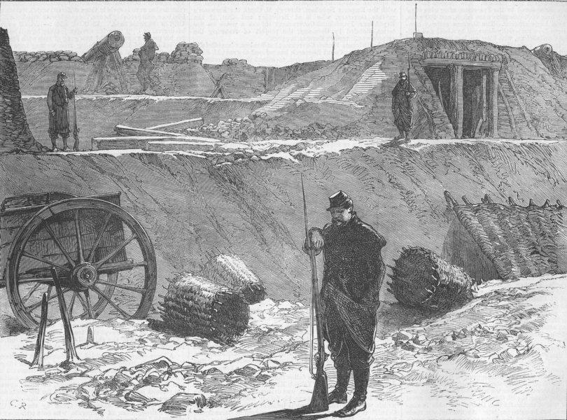 Associate Product FRANCE. Bastion occupied by Garde Sedentaire, Paris, antique print, 1871