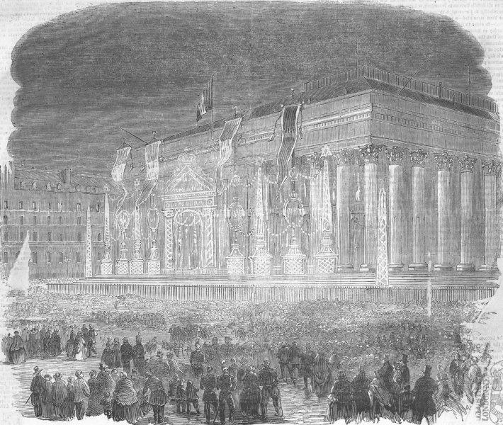 Associate Product FRANCE. Paris Bourse lit up for the Prince's birth, antique print, 1856