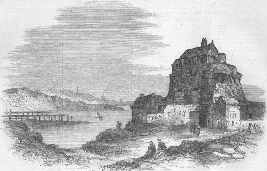 Associate Product FRANCE. Ambleteuse Boulogne in the Distance, antique print, 1856