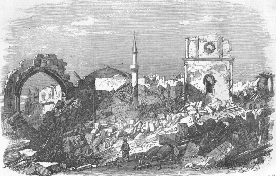Associate Product GREECE. Scene of the Late Explosion at Rhodes, antique print, 1857