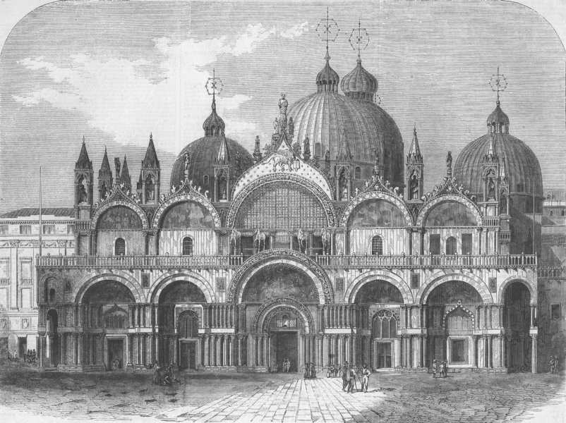 Associate Product ITALY. The Church of St Mark, Venice, antique print, 1861