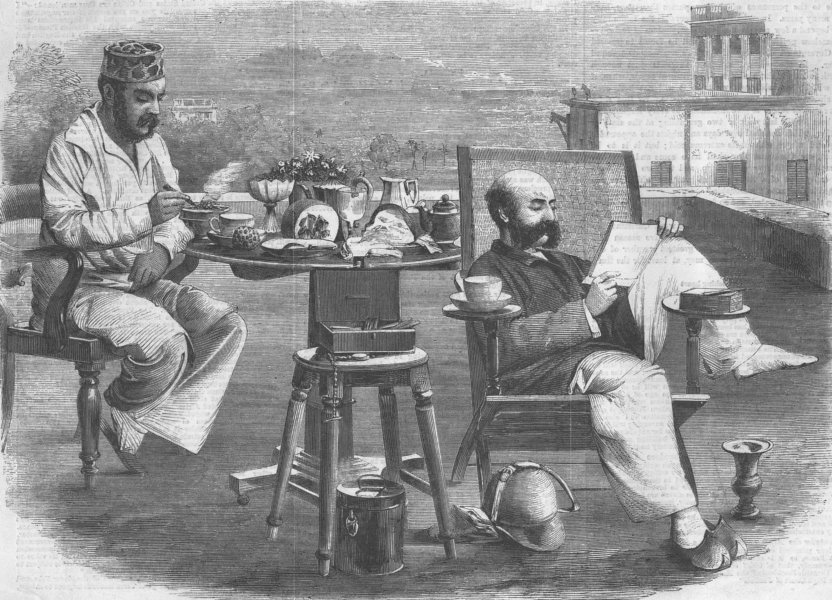 Associate Product INDIA. Chota Haziree, or Little Breakfast, in India, antique print, 1858