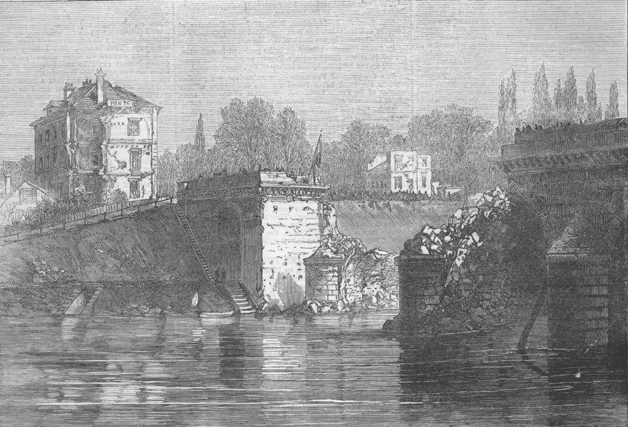 Associate Product FRANCE. The Bridge at Sevres, antique print, 1871