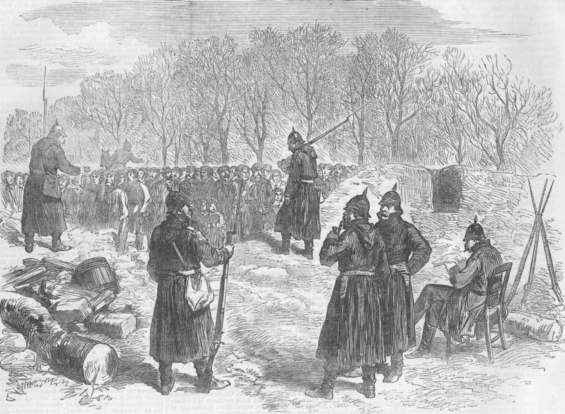 Associate Product FRANCE. Peasants at Prussian Barricade, Rueil Road, antique print, 1871