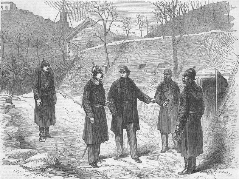 FRANCE. Fort Mont-Valérien. Delivering the keys, antique print, 1871
