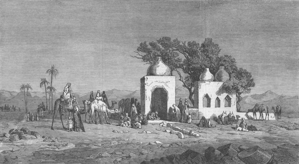 Associate Product EGYPT. Caravan arriving at a Well nr Thebes, Egypt, , antique print, 1864