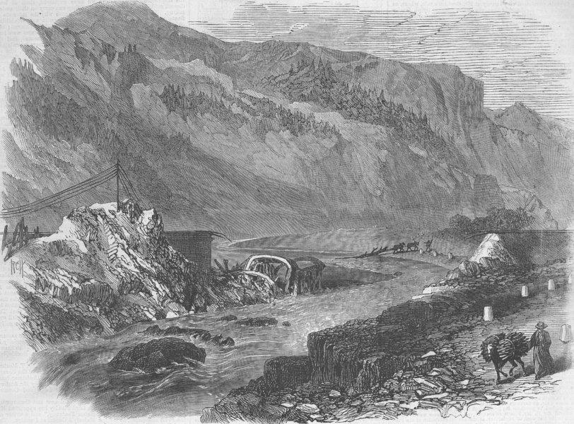 Associate Product FRANCE. Bridge wrecked by Flood, St Michel, Savoy, antique print, 1866