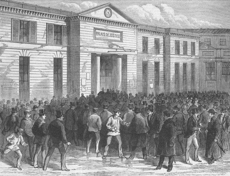 Associate Product FRANCE. Paris Commune. Palais de Justice, Elections, antique print, 1871