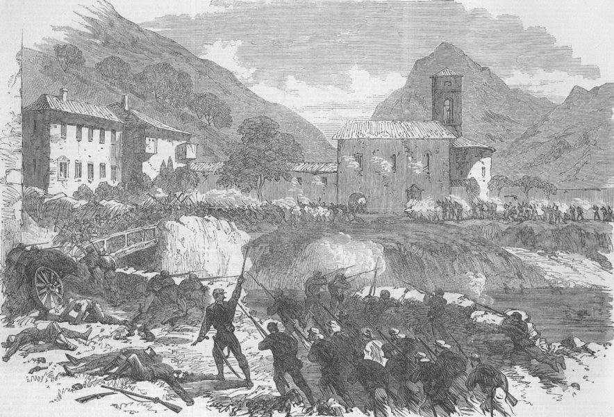 Associate Product ITALY. Garibaldians forcing Caffaro, antique print, 1866