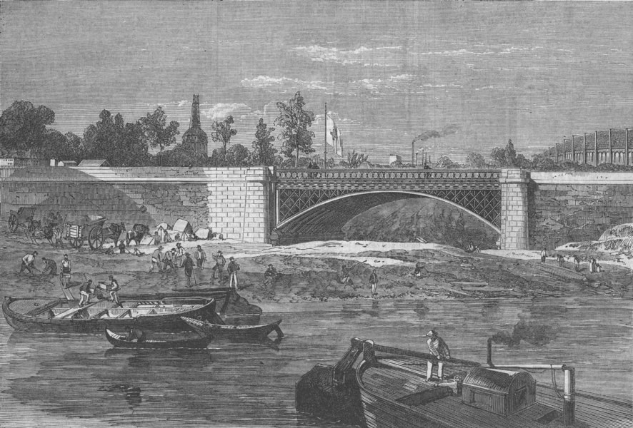 FRANCE. Bridge over The Intended Canal, Paris Expo, antique print, 1866
