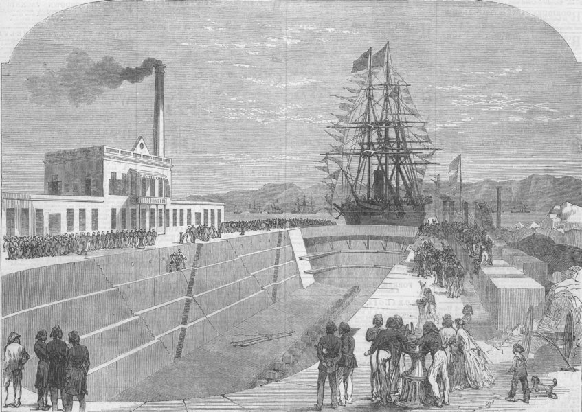Associate Product EGYPT. Opening of the New Dry Dock at Suez, antique print, 1867