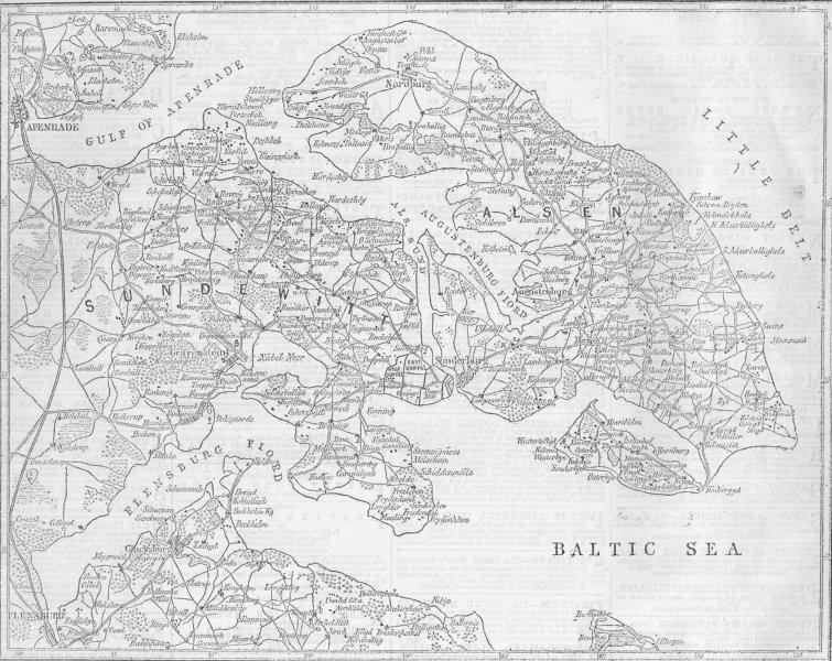 Associate Product DENMARK. Schleswig-Holstein. Seat of War, Denmark, 1864 map