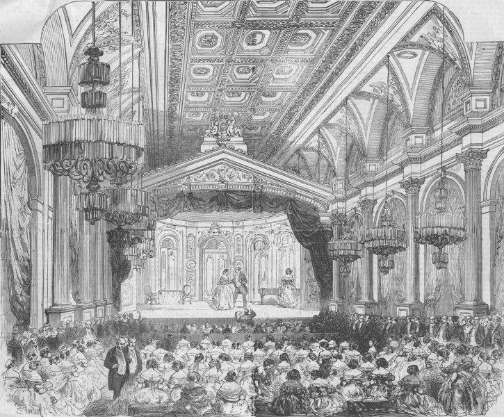 Associate Product FRANCE. Fete, Hotel de Ville, Paris, for Peace, antique print, 1856