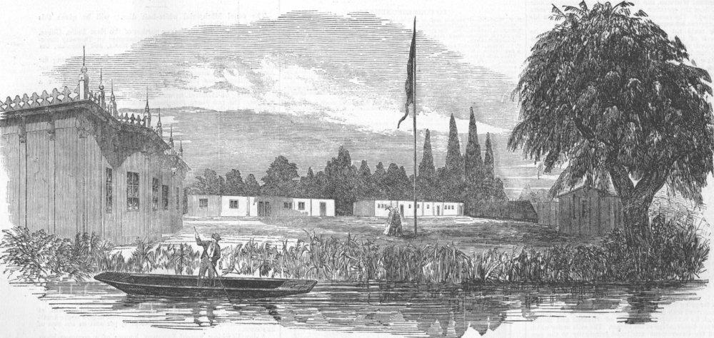 Associate Product AUSTRALIA. Papier-mache village for Australia, antique print, 1853