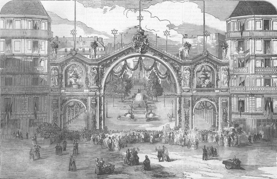 Associate Product FRANCE. Arch, Victoria Ave, Place De L'Hotel de Ville, antique print, 1856